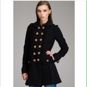 Juicy Couture Wool Cashmere Black Gold Pea Coat M